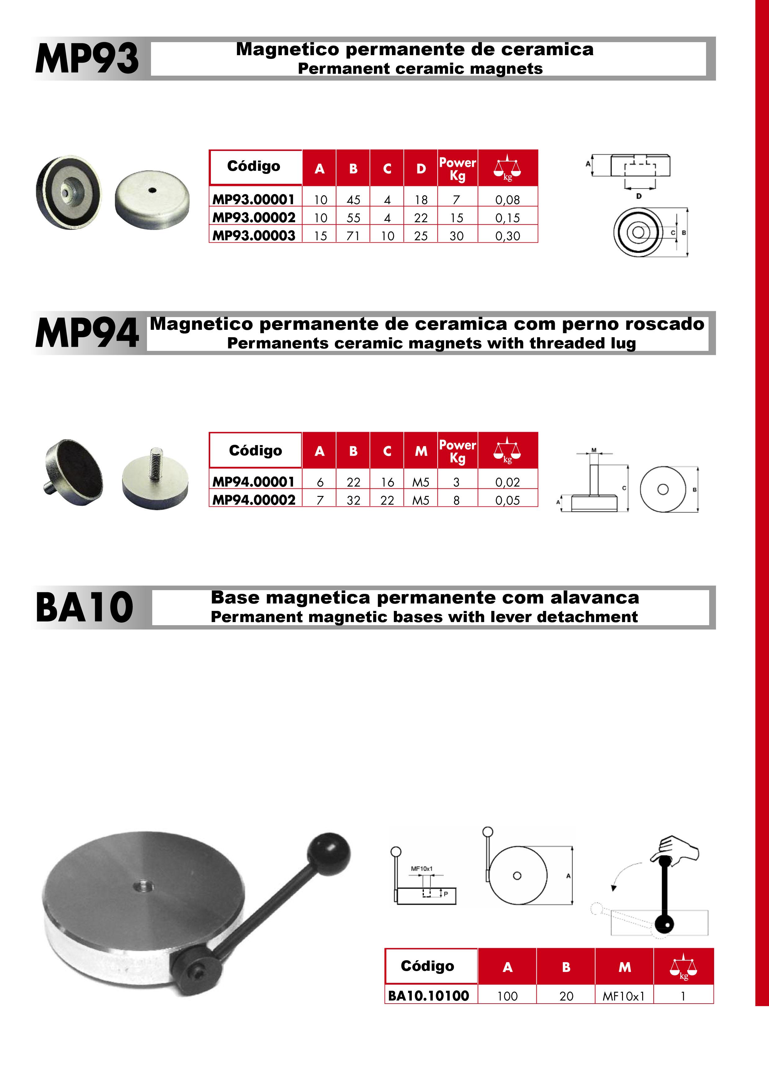 Magnéticos de Ceramica  MP93 Ee MP94        Base c/ Alava