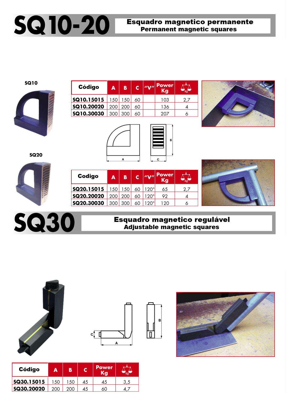 Esquadros SQ10 / SQ20 e SQ30