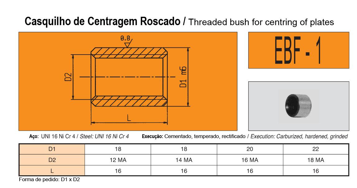 Casquilho Centragem Roscado EBF-1