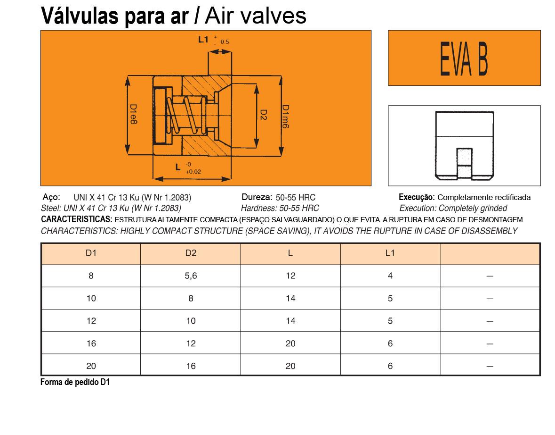 Válvulas para Ar EVA B